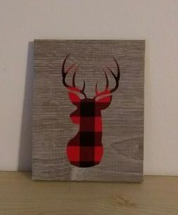 Red buffalo plaid deer decorative sign home office gift