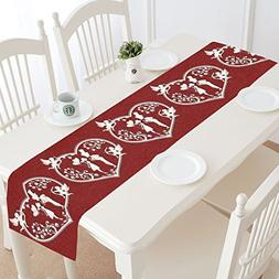 InterestPrint Red Love Hearts with Cupids Cotton Table Runne