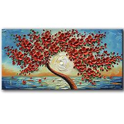 baccow Red Modern Flower Artworks 3D100% Hand Painted Abstra