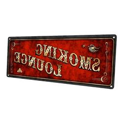 Red Smoking Lounge Metal Sign; Wall Decor for Home and Offic
