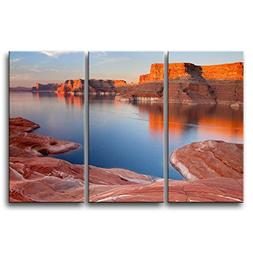 So Crazy Art 3 Pieces Red Wall Art Painting Padre Bay Lake P