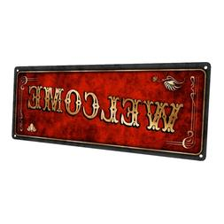 Red Welcome Metal Sign; Wall Decor for Home and Office