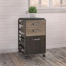 Bush Furniture Refinery 3 Drawer Mobile File Cabinet in Rust