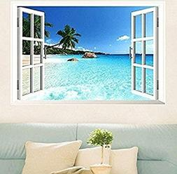 Large Removable Beach Sea 3D Window Decal Wall Sticker Home