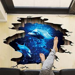 removable creative 3d dolphin swiming