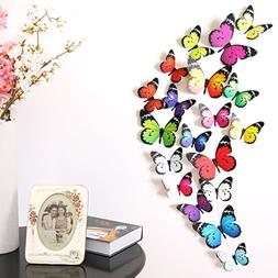 Amaonm® 19 Pcs Removable Diy Pvc 3d Colorful Butterfly Wall