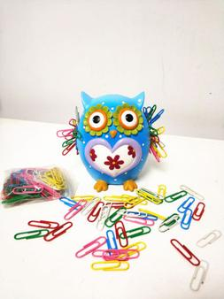 Resin Owl Paper Clip Holder Hoot Cartoon Decorations Color P