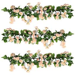 YILIYAJIA 3PCS Artificial Rose Garlands Silk Fake Rose Flowe