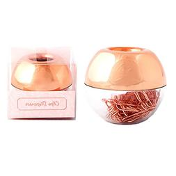 METAN 100pcs Rose Gold Paper Clips 28mm in Magnetic Lid Acry