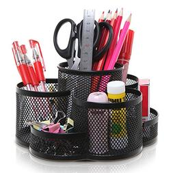 Rotating Black Metal Mesh 7 Compartment Desktop Office Suppl