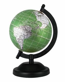 Rotating Globe 5'' inch Metallic Green Antique Geographical