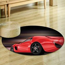 Round Area Rug Carpet Cars Decor Rear View of A Futuristic S