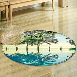 Mikihome Round Area Rug Carpet House Decor Pool with Tree Si