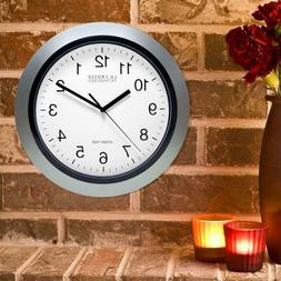 Round Atomic Analog Wall Clock Easy Set Time Home Office Roo