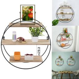 Round Floating Shelf Wall Mounted Display Rack Home Office D