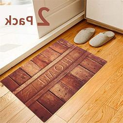 2 Pack Rubber Indoor Doormat Rustic Entrance Welcome Mat 18X