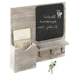 MyGift Rustic Barn Gray Wall-Mounted Letter Holder & Key Hoo