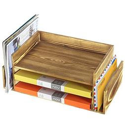Rustic Burnt Wood 3-Tier Office Desktop Document Tray & Mail