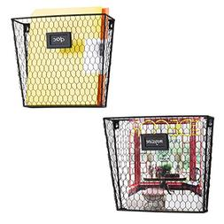 MyGift Rustic Chicken Wire Wall-Mounted Magazine & File Fold
