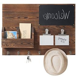 MyGift Rustic Dark Brown Wood Wall-Mounted Chalkboard & Mail