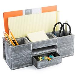 MyGift Rustic Gray Wood 6-Compartment Desktop Document & Off