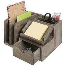 MyGift Rustic Gray Wood Desktop Office Organizer w/Sticky No