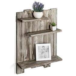 MyGift Rustic Torched Wood Pallet-Style Wall Mounted 3-Tier