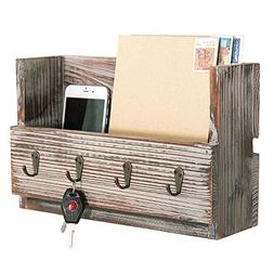 MyGift Rustic Torched Wood Wall Mounted Mail Holder Organize