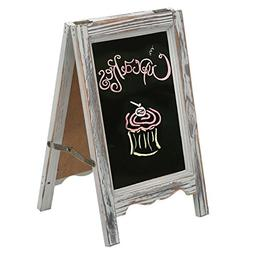 MyGift 15-inch Rustic Wood A-Frame Double-Sided Chalkboard E