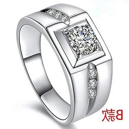 s925 Sterling Silver Ring Opening Men's Wedding Live on Larg