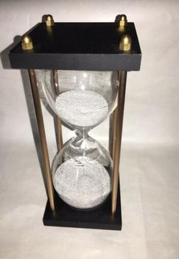 """Sand timer hourglass Metal/Wood 8"""" Tall Gift Office Decor"""