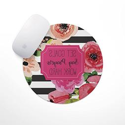 Set Goals Say Prayers Work Hard Floral Mouse Pad | Neoprene