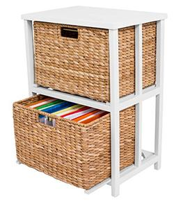 BirdRock Home Seagrass 2 Tier File Cubby Cabinet | Vertical