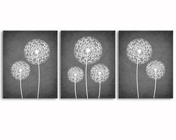 Set of 3 prints - dandelions, grey and white, home, office w