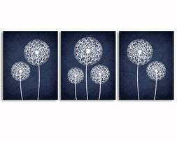 Set of 3 prints, dandelions, navy blue and white, home, offi