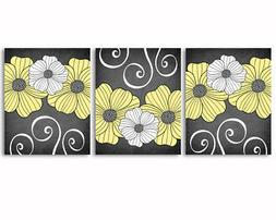 Set of 3 prints, flowers, yellow, white and grey art for hom