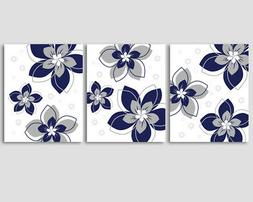 Set of 3 prints, navy blue and grey flowers, modern home, of