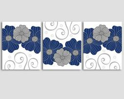 Set of 3 prints, navy blue and grey flowers - home, office w