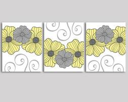 set of 3 prints yellow and grey