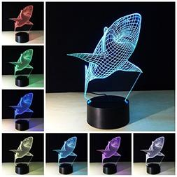 Etzon Technologies Shark 3D Light 7 Color Change 3D Night Li