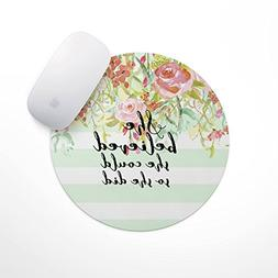 She Believed She Could So She Did | Mint Stripe Mouse Pad -