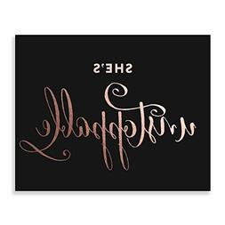 She's Unstoppable Rose Gold Foil Print Black Wall Art Nurser
