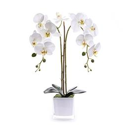 Livilan Silk Butterfly Orchid in Mirrored Vase Tall Artifici
