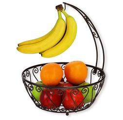 SimpleHouseware Fruit Basket Bowl with Banana Tree Hanger, C
