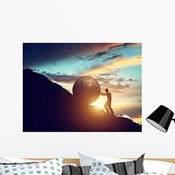 Wallmonkeys Sisyphus Metaphor Man Rolling Wall Mural Peel an