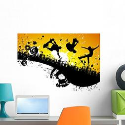 Wallmonkeys Skateboard City Wall Mural Peel and Stick Graphi
