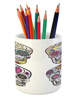 Ambesonne Skull Pencil Pen Holder, Colorful Ornate Mexican S