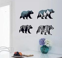 BIBITIME Snow Mountain Forest Tree Polar Bear Silhouette Sti