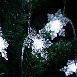 Snowflake Lights Battery Operated, Qualife Christmas Decorat