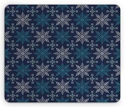 Ambesonne Snowflake Mouse Pad, Winter Holiday Theme Eight Po